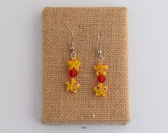 Yellow and Red Floral Stars Dangle Earrings