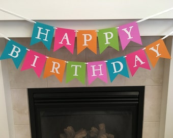 Happy Birthday Banner, Girl Birthday Banner, Shimmery Letters, Pink, Blue, Green, Orange, Girl Party Decoration, Shopkin Party, Photo Prop