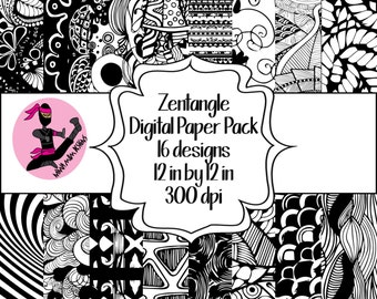 Zentangle Digital Paper Pack- 16 Sheets- Instant Download