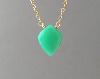 Green Chrysophase Shield Stone Gold Fill Necklace also in Sterling Silver and Rose Gold