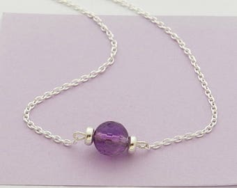 Silver necklace with faceted Amethyst bead