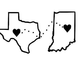 Two States Love No Distance Too Far Vinyl Car Decal Bumper Window Sticker Any Color Multiple Sizes Custom Jenuine Crafts