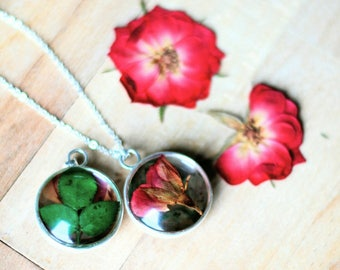Real Rose Necklace Resin Pressed Flower Jewelry Silver 925 Elegant Sweet Romantic Wedding Anniversary Birthday