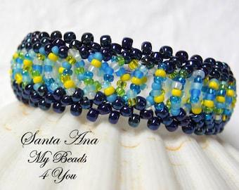 Beaded Bracelet, Blue Beaded Bracelet, Beadwork, Seed Bead Bracelet, Beaded Jewelry, Beadwoven Bracelet, MyBeads4You, Mothers Day Gift Idea