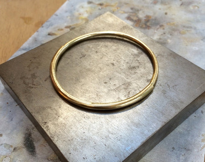 Half-and-Half Bangle Bracelet in Brass