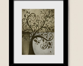 5 x 7 Nature Wall Art, Whimsical Tree Print, Living Room Wall Decor, Brown Earth Tones (87)