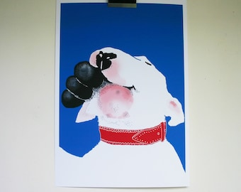 Bull Terrier with Kong - Cheerful Dog with Toy Print- New A3 size Poster