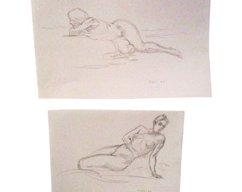 Signed Original Figurative Artist Sketch - a Pair