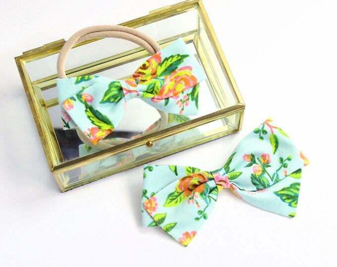 Rifle Paper Co Baby - Jardin De Paris Mint Bow - Fabric Hair Bows