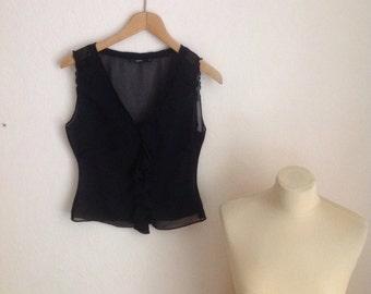 Black Sheer Chiffon Top V Neck Sleeveless Blouse See Through Tank Crop Small