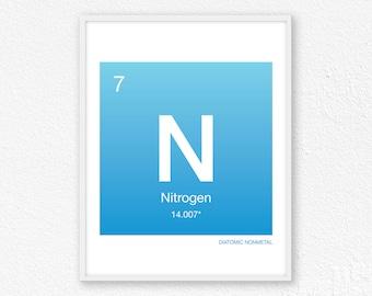 Nitrogen art etsy 7 nitrogen periodic table element periodic table of elements science wall art urtaz Choice Image