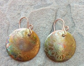 Round Fire Painted and Hammered Copper  Earrings