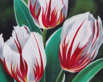 Red and White Tulips Floral Original Oil Painting