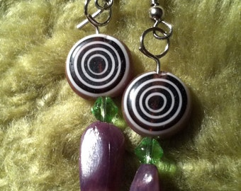 Classy Purple Glass Dangle Earring