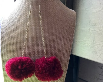 Cherry Red Pom Pom Earrings with Gold Chain