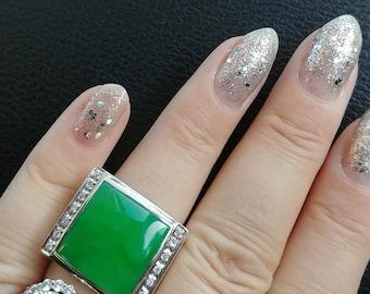 14k Gold Diamond Jade Men's Ring 15 Grams Stunning