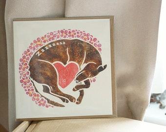 GREYHOUND greetings card - sleeping dog art printed watercolour design by Yorkshire artist Jess Chappell, anniversary, wedding, birthday etc
