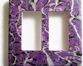 Light Switch Cover, Double Switchplate, Rocker Switch Plate, Purple with Pearl, Silver and Black Detail