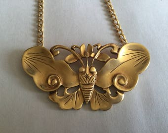 Vintage Art Deco Moth or Butterfly Necklace, Museum Replica