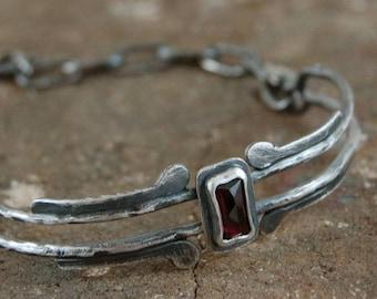 garnet silver bracelet, oxidized silver, organic jewelry