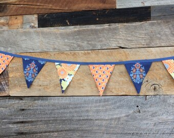 Blue and Orange Pennant Banner