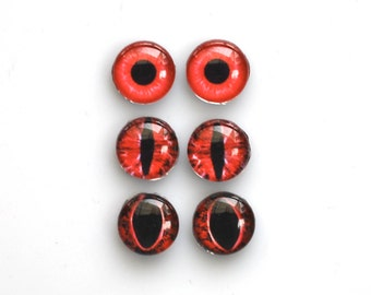 Set of 3 pairs handmade glass eye cabochons - 10mm red eyes - Standard profile