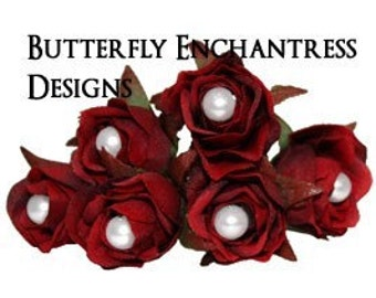 6 Red Rose Flower Bridal Hair Pins - White Pearl Centers