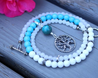 Pregnancy Tracking Necklace - Pick your charm - Sea Foam - Turquoise magnesite, rainbow moonstone, snow quartz