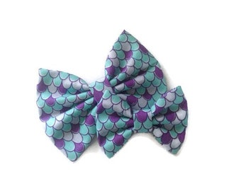 Mermaid Bow | Fabric Bow | Handmade Hair Bow | Hair Clip | Headband