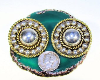 Vintage Solid 925 Sterling Silver and Brass Rope Disc Dome Clip On Earrings, Taxco TD-91