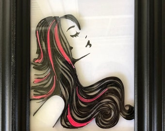 """Handcrafted Silhouette Quilling """"Flowing Hair"""" - 5x7"""