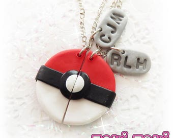 Gamer Couples Necklace, BFF Necklace, Polymer Clay Jewelry, Best Friend Necklace, Friendship Necklace, Love Necklace, Geek Necklace