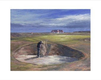 Golf Art. Golf Gift. Sports Art. Princes Golf Course, England. Print of original oil painting.