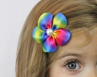Rainbow Tie Dye Flower Hair Bow - Rainbow Flower Hair Clip - Tie Dye Rainbow Brite Flower