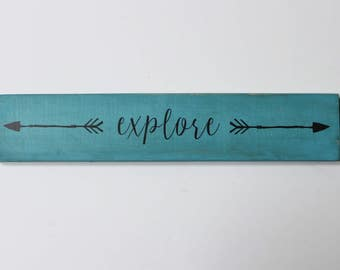 Explore sign with arrows...custom wood sign with arrows, wooden sign