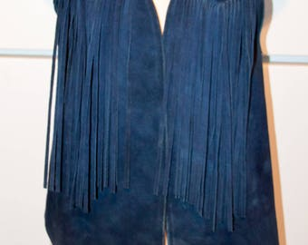 1970's Men's Navy Blue Suede Fringe Vest