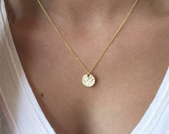 Hammered Disc Necklace, 14k Gold plated, Dainty Necklace