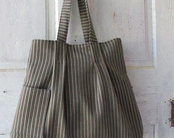 Shoulder bag Tote Hand bag hand made large canvas striped shopping bag