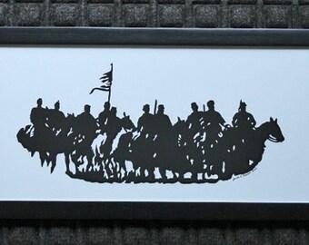 Dahlgren's Raid Civil War Reenactment  - Scherenschnitte - Hand Paper Cutting Art signed and dated By Janet Lynch -10x20 Framed