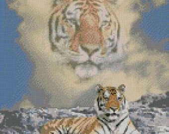 """Tiger Cloud Counted Cross Stitch Kit 10"""" x 13.25"""""""