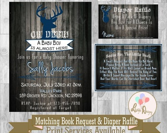 Oh Deer Baby Shower Invitation- Deer Baby Shower- Rustic Baby Shower Invitation- Antler Baby Shower- CoEd Baby Shower - Deer Invite