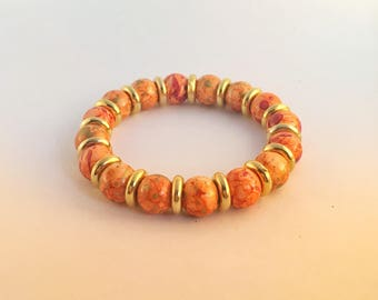 Stretch Bracelet for Women - Orange, Red, Gold