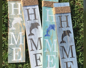 Dolphin Home Sign - Welcome - Dolphin sign - Home sign with Dolphin - Wooden home sign - Dolphin wooden sign - Wood beach sign - Island Sign