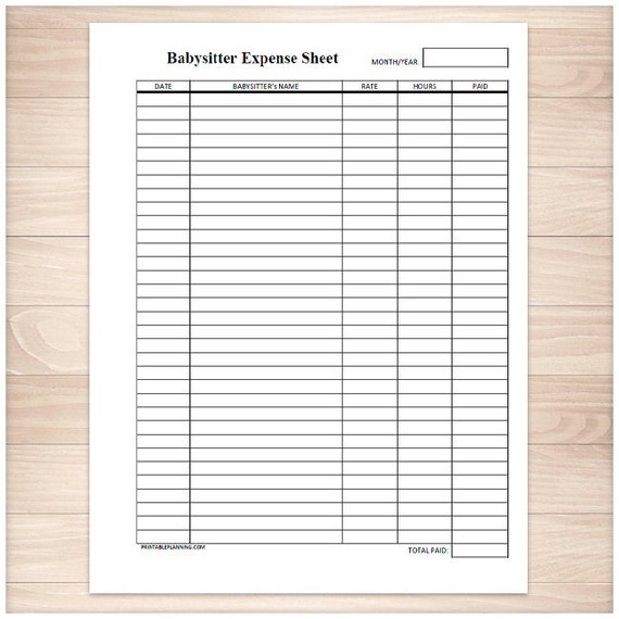 printable babysitter expense sheet monthly babysitter or