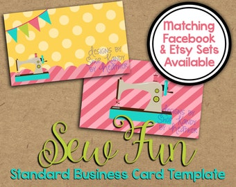 Sewing Business Card - Boutique Business Card - Sew Fun Business Card Template - Two Sided Business Card - Sewing Shop Graphics