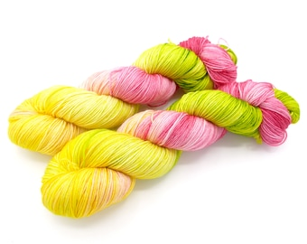 Flamingos on a Croquet Lawn, Lovely Hand Dyed Sock Yarn - In Stock