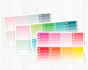 Ombre heart checklist stickers/label/planner stickers /ECLP/erincondren life planner/multicolor functional/rainbow/pastel/neutral