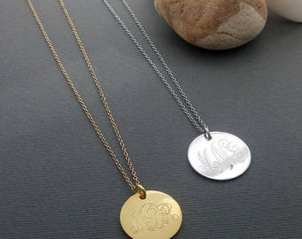 Initial Disc Necklace, Gold Initial Disc Necklace, Initial Disc Charm, Gold initial Necklace, Monogram Disc Necklace, bridesmaid jewelry