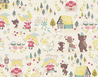 Patchwork fabric kids fabric, fabric loop gold by Riley Blake coupon cream