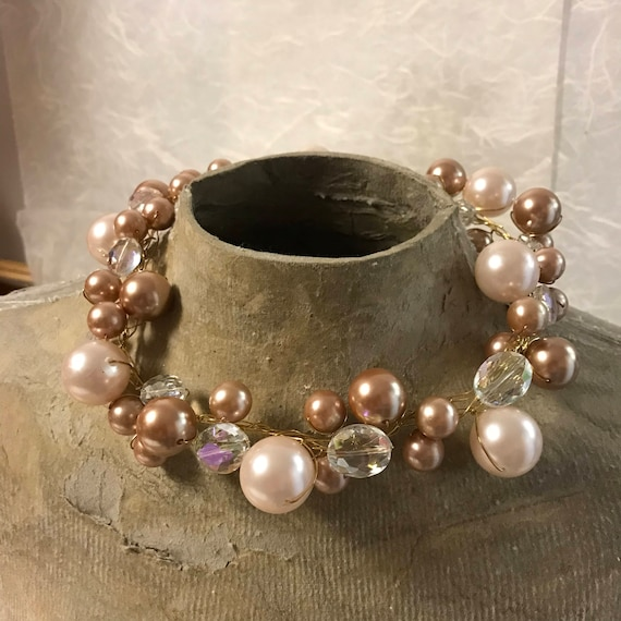 Vintage Bubble, Bauble Style Pearl Necklace and earrings, Diamonds and Rust One of a Kind necklace series